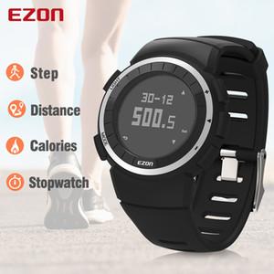 Calorias Ezon T029 Homens Sports Watch pedômetro Chronograph Moda Aptidão ao ar livre Relógios 50M impermeáveis de pulso digitais