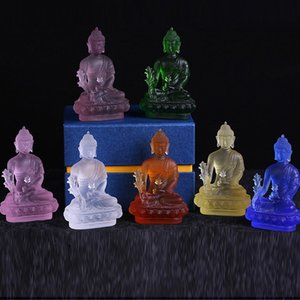 12cm 7colors Top Collection Medicine Buddha Statue of Healing Sculpture in Premium Buddha statue pharmacists lapis home office fengshui