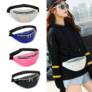 NoEnName-Null Women Fanny Pack Shiny Leather Pouch Chest Belt Waist Bum Bag Phone Travel Purse