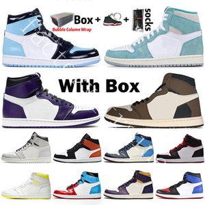 With Box 2020 Mens Basketball Shoes 1s top Obsidian UNC Fearless PHANTOM TURBO GREEN 1 Backboard GYM RED Sport Sneaker Trainer Size 36-47