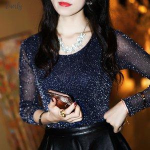 2020 Spring Summer Womens Sexy See Through Mesh Blouse Long Sleeve Transparent Long Sleeve Shining Elegant Shirt Fashion Df2417