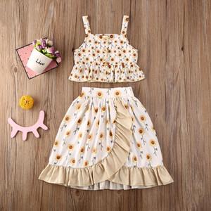 Summer Toddler Kids Baby Girl Sunflower Crop Tops Ruffle Dress Outfit Clothes Casaul Summer Set
