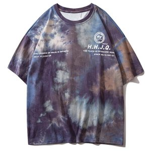 Mens Tie Dye camiseta de manga corta de verano de montaña de nieve Imprimir Harajuku camiseta de algodón Casual Hip Hop de manga corta de Calle