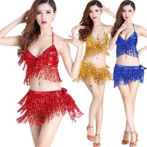 Göbek Dansı Latin Pullu Halter Üst Bra Kemer Kalça Etek Seti Seksi Parti Kostüm Püskül Temptation Sahne Performansı 9 Renkler ayarlar
