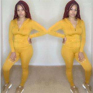 Magros ativos 2pcs Sets fêmeas Zipper ocasional das senhoras Esportes ternos com bolsos Primavera Womens Pure Color Fatos encapuçados