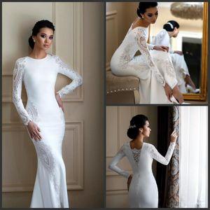 Blanc satin gaine à manches longues Robes musulmanes Robes de mariée 2020 New Beach mariage pas cher Robes Nigeria vestito da sposa
