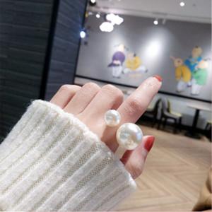 Style coréen Net Rouge Harajuku style Grand et petite perle d'ouverture surdimensionnée Fashion Style Personnalité Finger Hipster Ring Index Femme