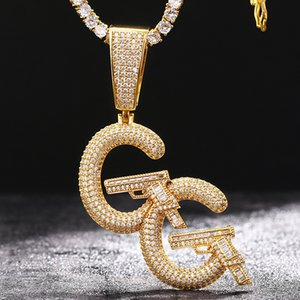 European Personalized Luxury Hips Hops Iced Out Pave Bling Bling CZ Heart With Double Guns Pendant Necklace