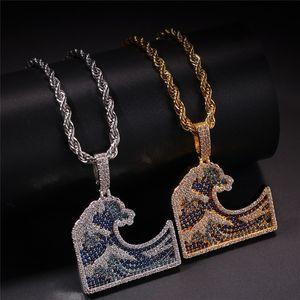 Deniz Dalga kolye kolye altın kaplama bakır işlemeli Taşlı Deniz Dalga kolye 60cm Paslanmaz Çelik Zincir