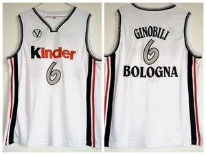 Homens Moive 6 Manu Ginobili Jersey Faculdade De Basquete Kinder Bologna Jerseys Equipe Cor Branco Uniforme Esporte Universidade