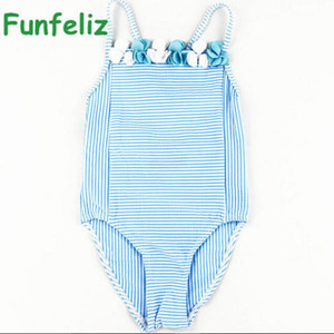 Girls Swimwear 2020 cute baby girl bathing suit children one piece girl swimsuit blue striped swim costume for girls kids 6M-11T