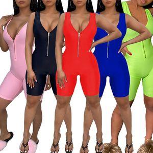 Chaud Sell Femmes Designer Combinaison Vêtements d'été Combinaisons Jumpsuit Nouveau Style V-Col Col Fermeture à glissière Rompers Modycon Souris Sans Manches S-XL Capris