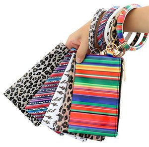hot Bracelet Keychain Leather Wrist Key Ring Handbag Leopard Bracelets Pendant Purse Lady Clutch Bag Hand Carry Bags Phone Case DA455