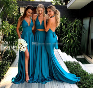 Two Piece Teal Blue Bridesmaid Dresses V Neck Satin Floor Length Summer Bridesmaid Gowns Sexy Wedding Party Dresses Sweep Train