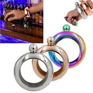 Portable 3.5oz Stainless Steel Wine band Flask Bracelet Shellhard Alcohol Drink Wine Beer Flask Funnel Container& Bangle Men bar Jewelry fit