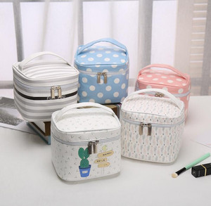 Toiletry Kits Square Fresh Dots Stripes Printing Multifunctional Sport Cosmetic Bags 5Colors Zipper Travel Storage Bags With handle