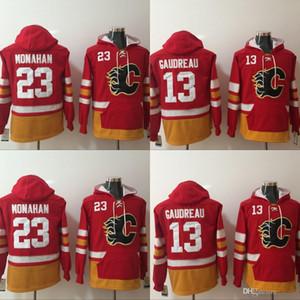 Jacket Mens Calgary Flames Hoodies Jersey 13 Johnny Gaudreau 23 Sean Monahan capuz Inverno Red frete grátis