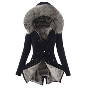 Bayanlar Palto Kürk Astar Coat Bayan Kış Kalın Uzun Ceket Kapşonlu Palto İnce Casual Uzun Sıcak Coat Yeni Sıcak # Y5-5 Isınma