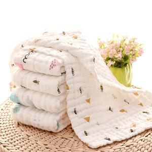 Baby-Badetücher aus 100% Baumwolle Gauze Neugeborene Spucktücher Muslin Baby-Gesicht Handtuch Infant Jungen Mädchen Waschlappen 17 Cartoon Designs DHW4154