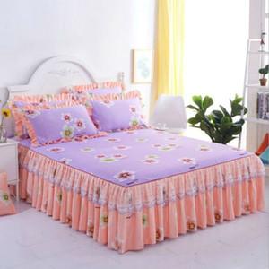 Baskılı 1 Adet Dantel Yatak Etek + Kız yatak Kapak Çıkarılabilir İçin Yastık kılıfı yatak set Prenses Yatak Örtüleri sac Bed 2PIECES