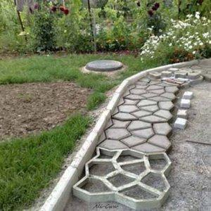 Главная Сад DIY Пластиковые Path Maker Mold вручную Мощение / Цемент Кирпич Формы Патио Бетонные плиты Путь украшения сада
