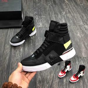 2019 Son moda Taban Sneakers Erkek Eğitmenler Erkekler Tasarımcı Sneaker Boots Gerçek Deri, Dikiş renk Baskı