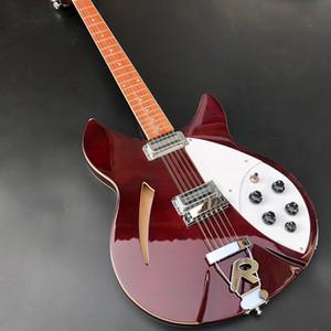 팩토리 아울렛 12 문자열 전기 기타, 360 일렉트릭 기타 갈색 페인트 세미 할로우 기타 무료 배송 상감 빨간색