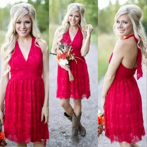 Sexy Cheap Dark Red Country Vintage Short Bridesmaid Dresses Halter Full Lace For Weddings Open Back Plus Size Formal Maid of Honor Gowns