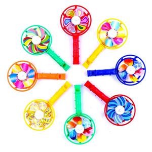 لطيف الطفل الاطفال الطاحونة لعبة الملونة طواحين الهواء الصغيرة لعبة الأطفال البلاستيكية الطاحونة الصفير التعامل مع لعب المروحة ريح سبينر