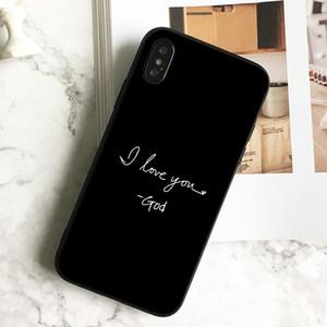 Capa Luxe I Love You Dieu Phone pour iPhone 11 Pro Xs Max Xr 8 7 6s Plus 5 SE Étui souple noir TPU couverture de silicone.