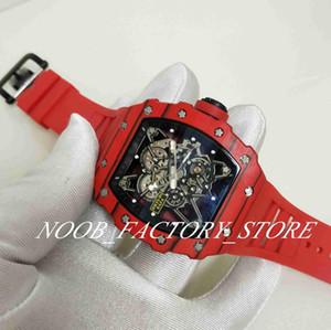 Luxo Super Automatic Movimento Assista Mens Red Bezel Homens Esporte RM35-01 RAFA fábrica Relógios Red Rubber Strap Ultraleve Caso Fecho Original