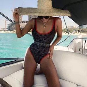 Voll F Brief Bikini Red Border-Badeanzug-Frauen-Art- und Strand-Bikini-Sommer-Backless Badeanzug-Mädchen-Dreieck-Schwimmen Badebekleidung
