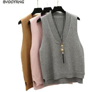 V-neck knit vest women's sweater autumn and winter 2019 new Korean loose horse clips short sleeveless vest female pullover top