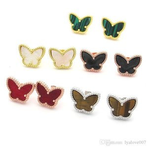 2020 Fashion gold plated Cartilage Ear Cuff Clip-On Earrings Black white red green colorful butterfly earring Women's trade Clip Earrings