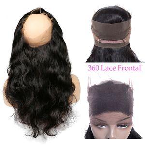 9A Grado 360 frontal del cuerpo del cordón de la onda con el pelo del bebé de la onda del cuerpo del color natural del cabello humano Cierre 8-20 pulgadas de cordón suizo brasileñas del pelo