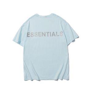 필수 3M 반사 남성 T 셔츠 패션 짧은 소매 디자이너 T 셔츠 여름 라이트 블루 신선한 티 문자 인쇄 힙합 T 셔츠