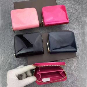 bolsillo clásica de cuero con cremallera Patente mayorista a corto billetera moda de alta calidad mujeres del monedero de la moneda de cuero titular de la tarjeta monedero shinny