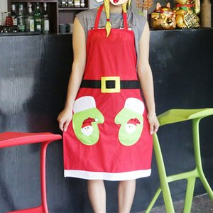 Cute Christmas Decoration Applique Apron Bar Restaurant Hotel Waiter Creative Overalls 72XF