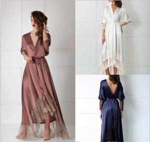 2020 Designer-Sommer-Frauen Robe-reizvolle Nightgown lange Hülsen-Spitze Bademantel Brautnachtwäsche Pyjamas für Hochzeit Spa Prom Brautjungfer Shawel