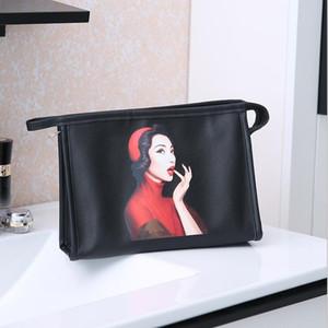 Women Wash Bag Handbags Large Capacity PU Waterproof Pattern Cosmetic Bag Lady Portable Travel Storage Bags