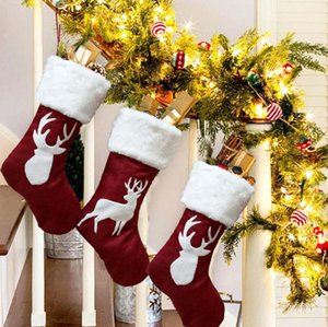 Large Chirstmas Decoration Stocking Elk Christmas Sock Gift Bag Christmas Tree Decoration Hang Storage Bag Party Supplies DBC