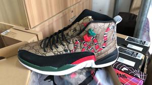 Çok renkli spor tasarımcıları ayakkabı 40-47 yılan derisi 12 GS kaplan yılan Siyah Kahverengi Kırmızı erkekler basketbol ayakkabıları nesil yeni stil 12s erkek