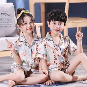 WAVMIT 2020 Summer Short Sleeve Kids Sleepwear Set Silk Pajamas Set Boys Pyjamas Sets for Kids Nightwear Girls Pajamas