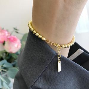Silvology couleur or ronde Bracelets perles en argent sterling 925 de haute qualité Bracelets élégante pour femmes 925 bijoux Festival de cadeaux CX200702