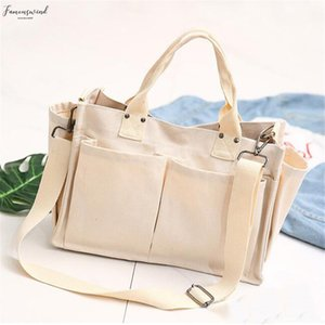 Lady Shoulder Bag Big Capacity Women Canvas Tote Shopping Bag Pockets Girl Messenger Bag School Books Travel Beach
