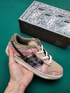 xshfbcl 2020 Travis Scott x SB Dunk Low StrangeLove Bright Melon Gym Red Soft Pink Skateboard Shoes SL Raygun TUE-DYE Casual Running Shoes