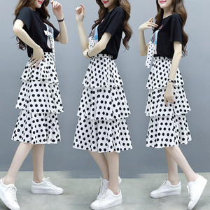 TiLeewon Summer Two Piece Dress T -Shirt With Dot Dress Plus Size 4XL Casual Ladies Women Set