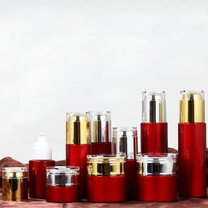 Бутылки с кремом из красной стеклянной банки Круглые косметические банки Крем для лица с распылителем и спреем для лица с золотой / серебряной акриловой крышкой 20г-30г-50г