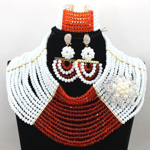 Neuester klobiger Kristallbrautkostüm-Schmucksache-gesetzter weißer orange Dame Full Beads Party Necklace Set Freies Verschiffen WA653