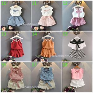 30 Arten Baby Art und Weise INS setzt 2019 neue Kinder Sommerkarikatur T-Shirt + Röcke oder Hosen 2pcs gesetzte Kinder Kleidung B001